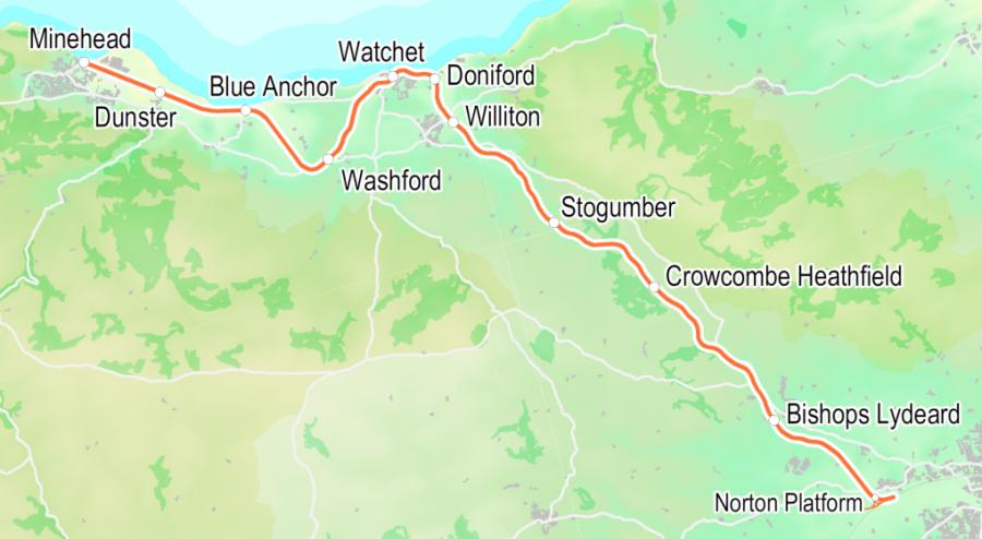 Bishops Lydeard to Minehead Map